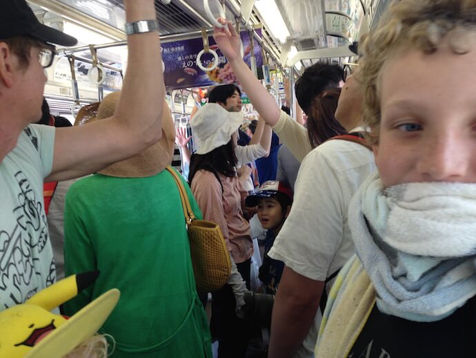 Crowded railway carriage, Japan
